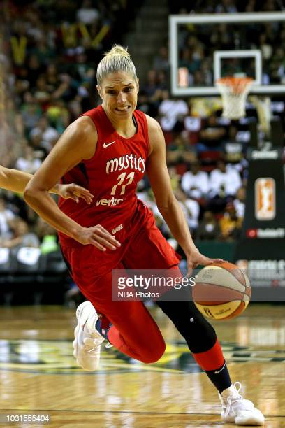 Elena Delle Donne of the Washington Mystics handles the ball against the Seattle Storm during Game Two of the 2018 WNBA Finals on September 9 2018 at...