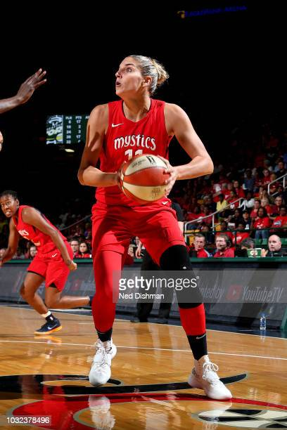 Elena Delle Donne of the Washington Mystics handles the ball against the Seattle Storm during Game Three of the 2018 WNBA Finals on September 12 2018...