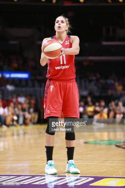 Elena Delle Donne of the Washington Mystics handles the ball against the Los Angeles Sparks during a WNBA basketball game at Staples Center on July 2...