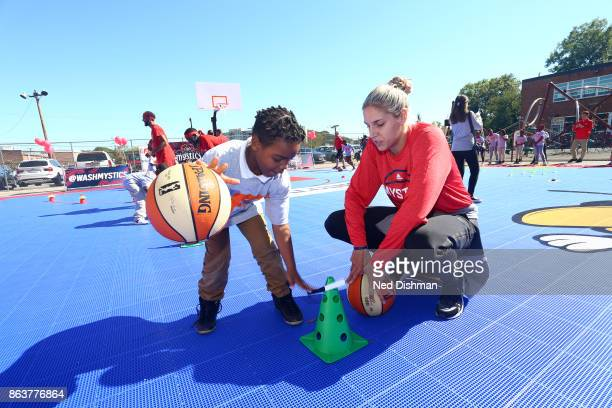 Elena Delle Donne of the Washington Mystics participates in a clinic at Hendley Elementary school during a court dedication and WNBA Fit Clinic on...