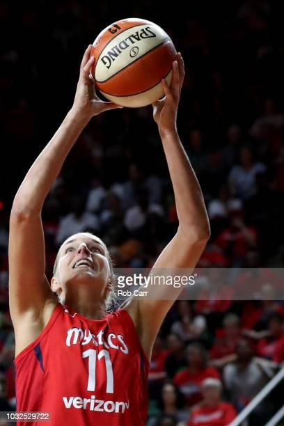 Elena Delle Donne of the Washington Mystics puts up a shot against the Seattle Storm in the second half during game three of the WNBA Finals at...