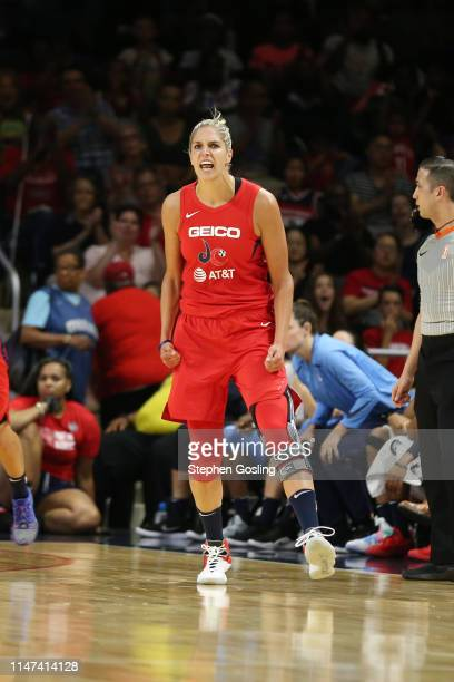 Elena Delle Donne of the Washington Mystics reacts against the Atlanta Dream on June 1 2019 at the St Elizabeths East Entertainment and Sports Arena...