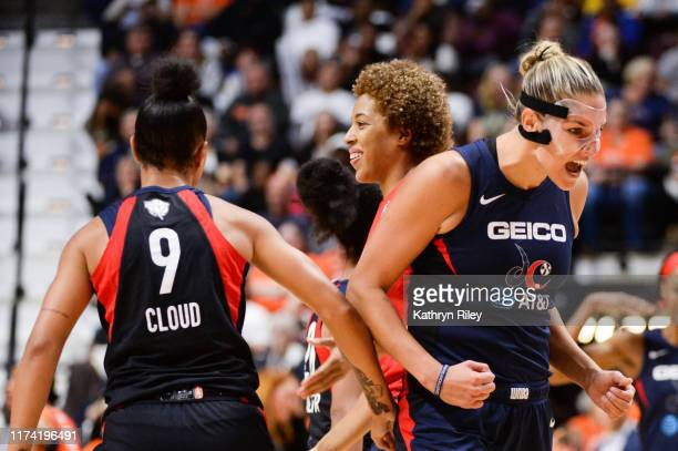 Elena Delle Donne of the Washington Mystics reacts in the fourth quarter of Game 3 of the WNBA Finals during action against the Connecticut Sun at...