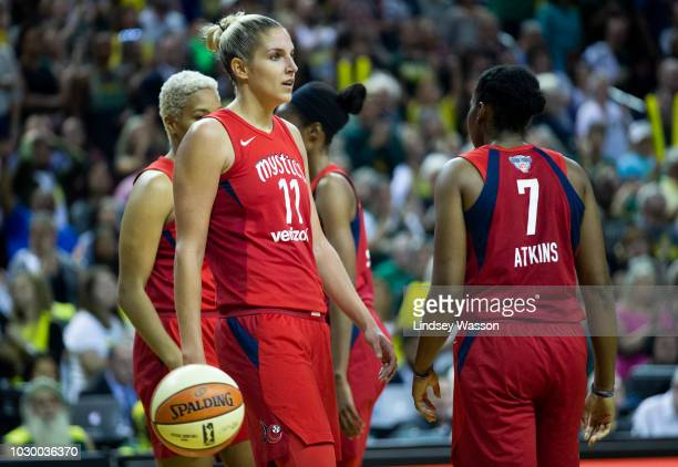 Elena Delle Donne of the Washington Mystics reacts to her team fouling the Seattle Storm in the final seconds of Game 2 of the WNBA Finals at...