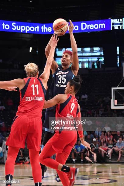 Elena Delle Donne of the Washington Mystics shoots the ball against the Atlanta Dream on July 15 2018 at Hank McCamish Pavilion in Atlanta Georgia...