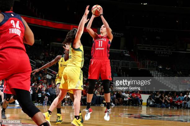 Elena Delle Donne of the Washington Mystics shoots the ball during the game against the Seattle Storm during a WNBA game on September 1 2017 at the...
