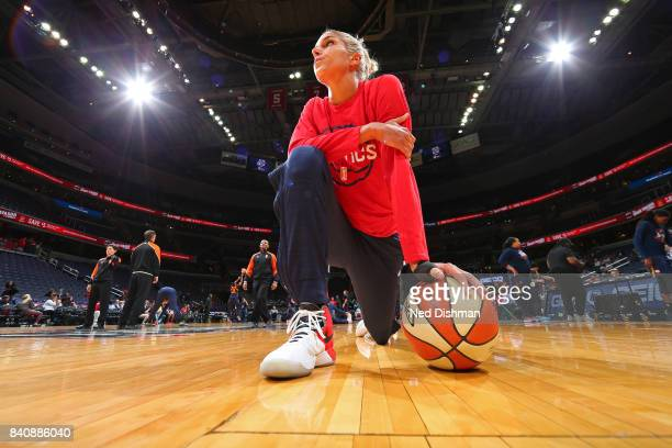Elena Delle Donne of the Washington Mystics takes a knee on the court before the WNBA game against the Connecticut Sun on August 29 2017 at the...