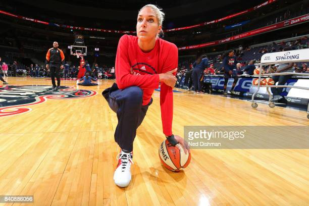 Elena Delle Donne of the Washington Mystics takes a knee on the court before the WNBA game against the Connecticut Sun on August 29, 2017 at the...