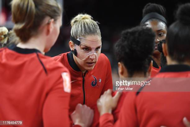 Elena Delle Donne of the Washington Mystics talks to teammates on the court before Game Three of the 2019 WNBA Playoff semifinals against the Las...