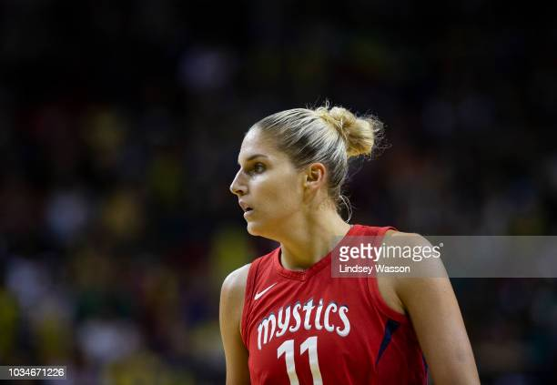 Elena Delle Donne of the Washington Mystics walks the court during the first half of Game 2 of the WNBA Finals against the Seattle Storm at KeyArena...