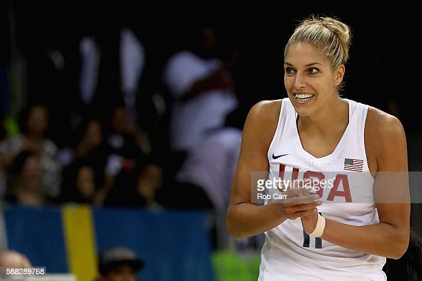 Elena Delle Donne of United States reacts to a call against Serbia in the Women's Basketball Preliminary Round Group B match between United States...