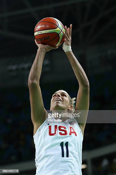 Elena Delle Donne of United States shoots during the Women's Quarterfinal match against Japan on Day 11 of the Rio 2016 Olympic Games at Carioca...