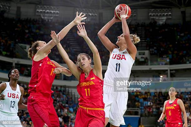 Elena Delle Donne of United States shoots over Leonor Rodriguez of Spain during the Women's Gold Medal Game between United States and Spain on Day 15...