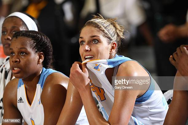Elena Delle Donne sits with teammate Epiphanny Prince during the third quarter of the preseason game against the New York Liberty on May 15 2013 at...