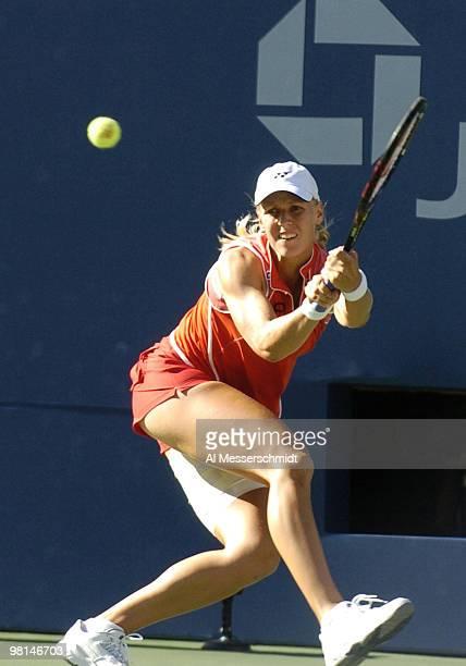 Elena Dementieva defeats Jennifer Capriati in the sem finals of the women's singles September 10 2004 at the 2004 US Open in New York
