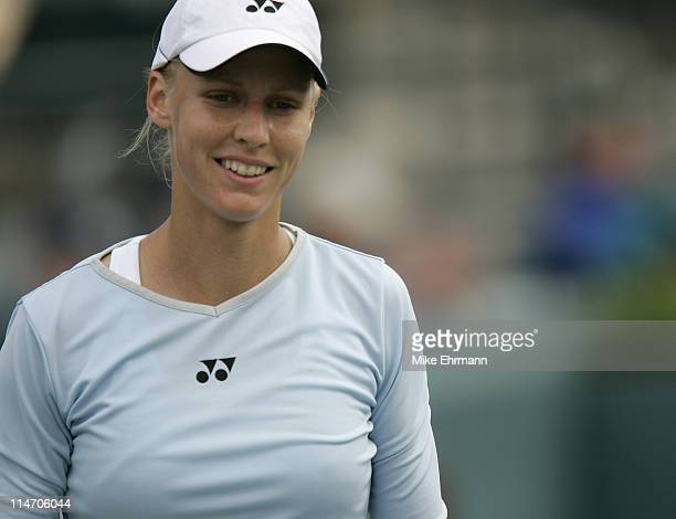 Elena Dementieva during her 3rd round match against Nuria Llagostera at The Family Circle Cup being held at the Family Circle Tennis Center in...