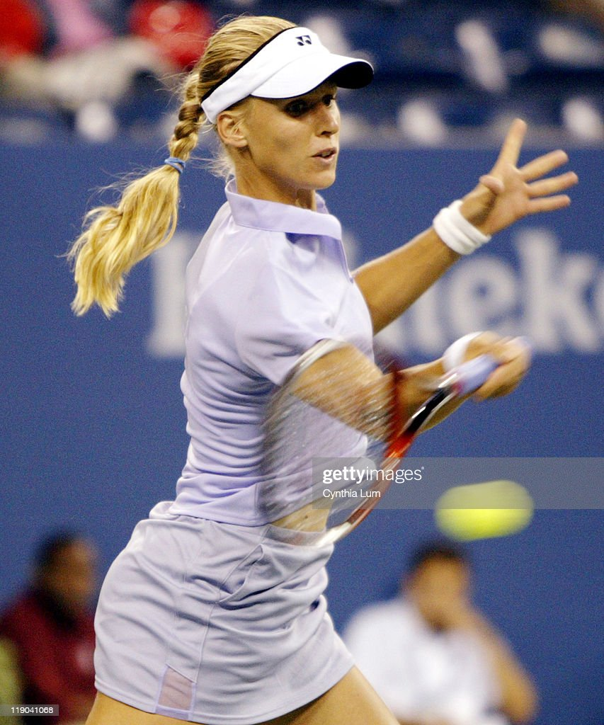 Elena Dementieva in a rain delayed match that started at 1:30pm and ended at 8:30pm at the 2003 US Open, fourth round women's singles on September 1, 2003. Jennifer Capriati defeated Elena Dementieva 6-2, 7-5.