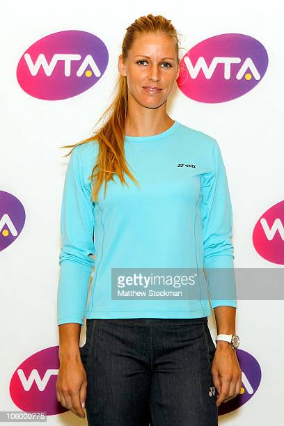 Elena Dementieva of Russia attends a press conference at the Ritz Carlton hotel ahead of the WTA Championships on October 25 2010 in Doha Qatar