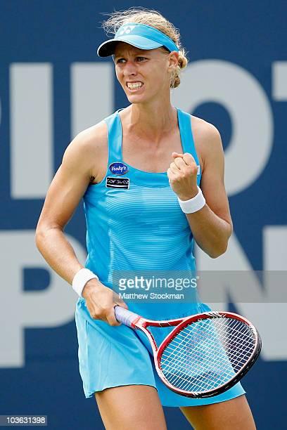 Elena Dementieva of Russia celebrates a point against Kateryna Bondarenko of Ukraine during the Pilot Pen tennis tournament at the Connecticut Tennis...