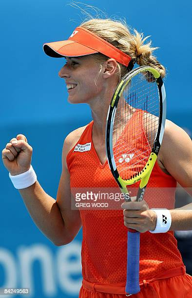 Elena Dementieva of Russia celebrates after winning a point during her match against compatriot Ekaterina Makarova during the Sydney International...