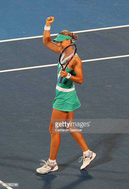 Elena Dementieva of Russia celebrates championship point in the women's final match against Serena Williams of the USA during day six of the 2010...