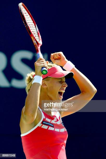 Elena Dementieva of Russia celebrates match point against Samantha Stosur of Australia during the Rogers Cup at the Rexall Center on August 21 2009...