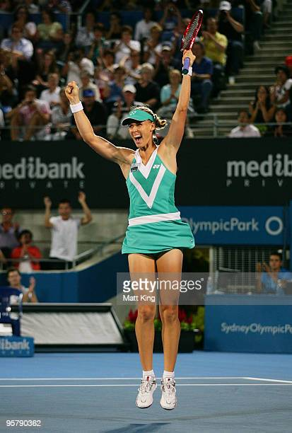 Elena Dementieva of Russia celebrates winning championship point in her final match against Serena Williams of USA during day six of the 2010...