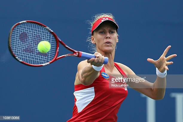 Elena Dementieva of Russia hits a forehand return against Daniela Hantuchova of Slovakia during her women's singles match on day five of the 2010 US...