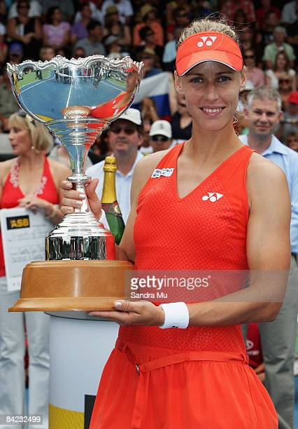 Elena Dementieva of Russia holds the trophy after winning the final against Elena Vesnina of Russia during day six of the ASB Classic at ASB Tennis...