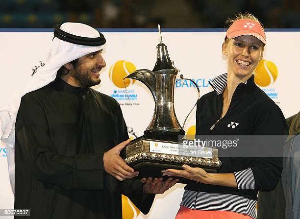 Elena Dementieva of Russia receives the trophy after defeating Svetlana Kuznetsova of Russia in the final during day six of the WTA Barclays Dubai...