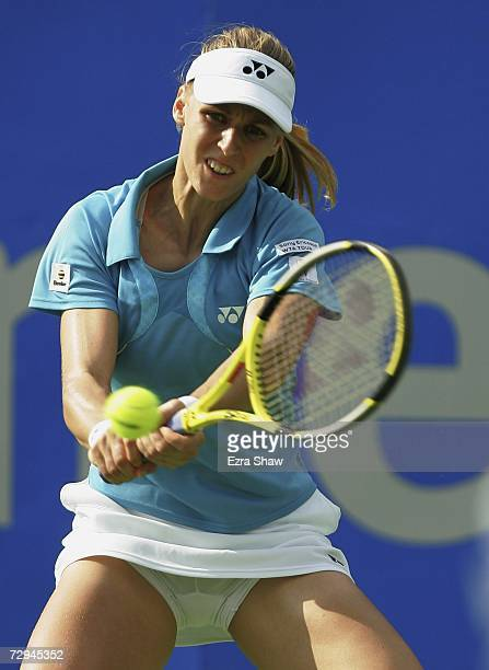 Elena Dementieva of Russia returns a shot to Ai Sugiyama of Japan on day two of the 2007 Medibank International at the Sydney International Tennis...