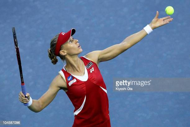 Elena Dementieva of Russia serves in the Women's Singles semi final match against Francesca Schiavone of Italy on day six of the Toray Pan Pacific...
