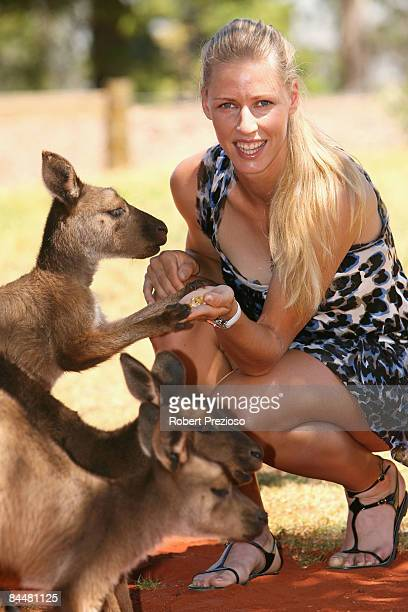Elena Dementieva of Russia visits Melbourne Zoo during day nine of the 2009 Australian Open on January 27, 2009 in Melbourne, Australia.
