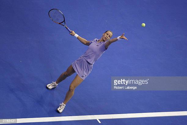 Elena Dementieva serves during her round robin match for the 2003 Bank of America WTA Tour Championships on November 6, 2003 at the Staples Center in...