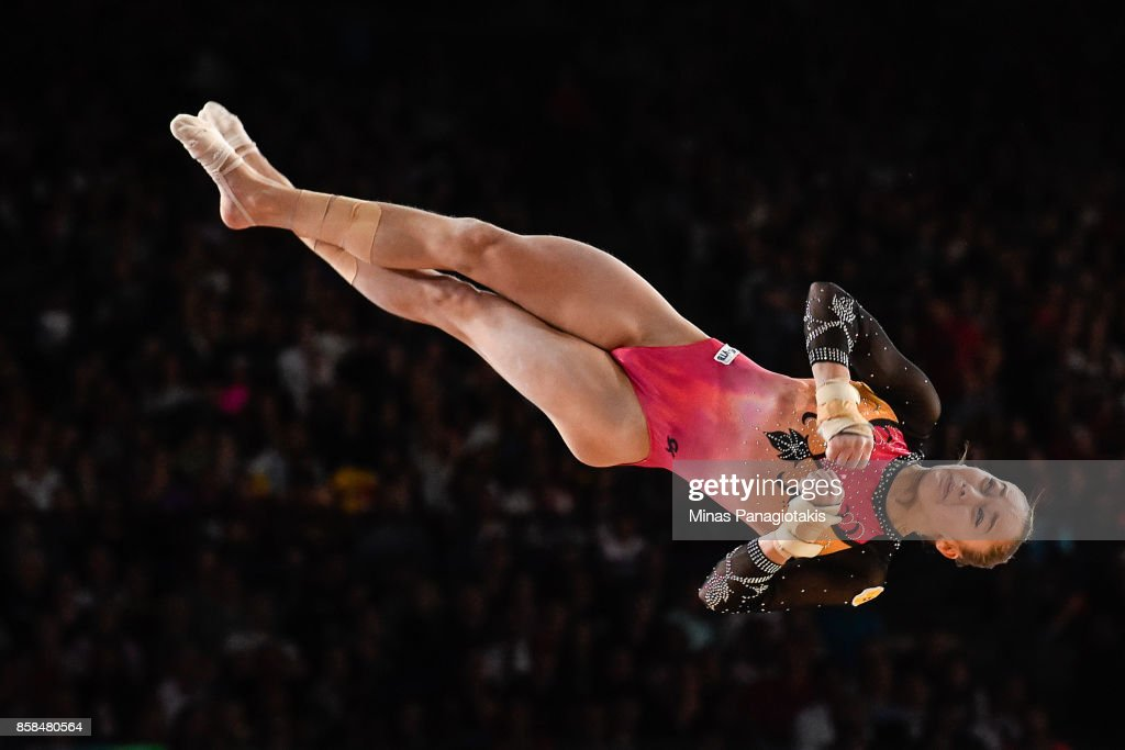 Elena Eremina of Russia competes on the floor exercise during the women's individual all-around final of the Artistic Gymnastics World Championships on October 6, 2017 at Olympic Stadium in Montreal, Canada.