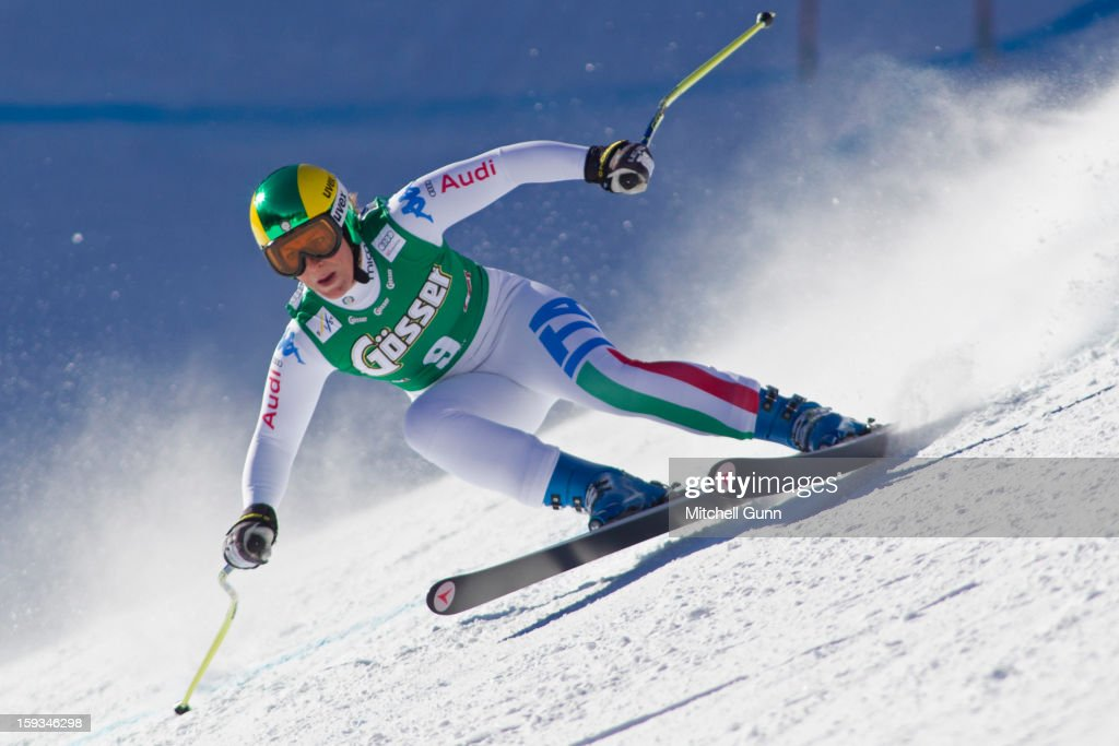 Elena Fanchini of Italy races down the Kandahar course whilst competing in the Audi FIS Alpine Ski World Cup downhill race on January 12, 2013 in St Anton, Austria.