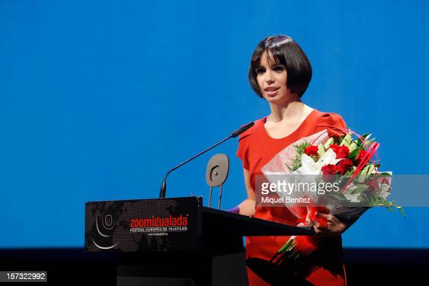 Elena Furiase receives the Zoom Festival award during the 'Zoom Igualada Festival' on December 1 2012 in Igualada Spain