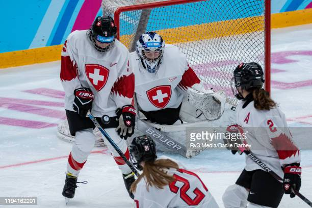 Elena Gaberell of Switzerland stops a shoot during Women's 6-Team Tournament Preliminary Round - Group B game between Czech Republic and Switzerland...