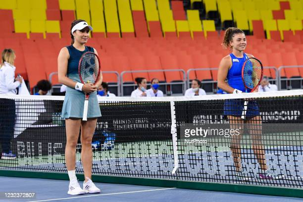 Elena Gabriela Ruse and Jasmine Paolini at the beginning of the match 3 during the Billie Jean King cup in Cluj-Napoca, 17 April 2021