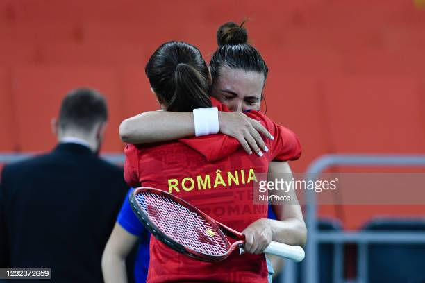 Elena Gabriela Ruse, player of team Romania after winning the match against Jasmine Paolini, italian player during the Billie Jean King cup in...