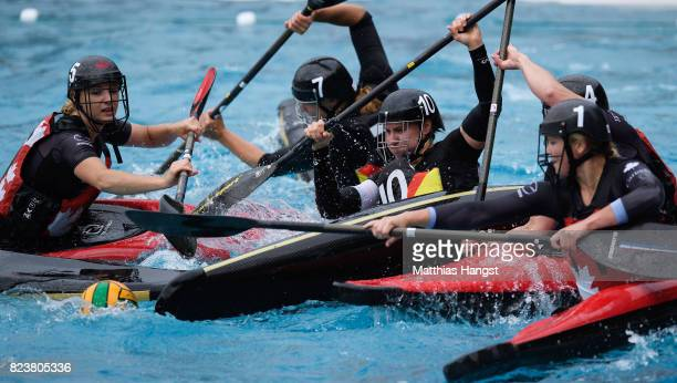 Elena Gilles of Germany breaks through the defence of Canada during the Canoe Polo Women's match between Germany and Canada of The World Games at...