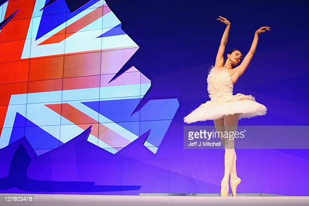 Elena Glurdjidze from the English National Ballet performs on stage at the Conservative Party Conference following a speech from Culture Secretary...