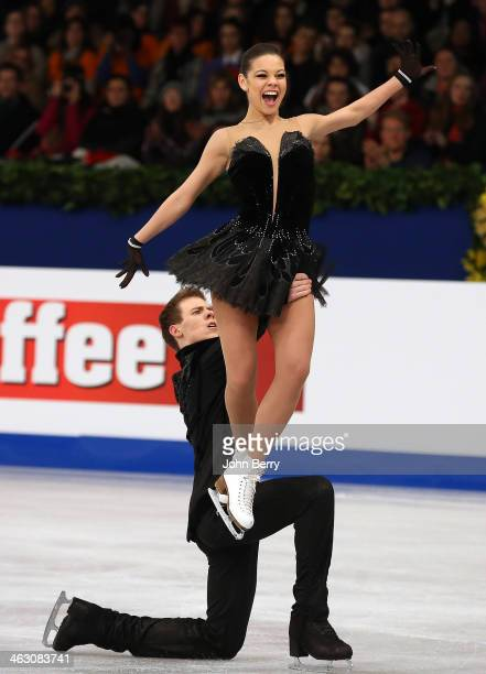 Elena Ilinykh and Nikita Katsalapov of Russia compete in the Ice Dance Free Dance event of the ISU European Figure Skating Championships 2014 held at...