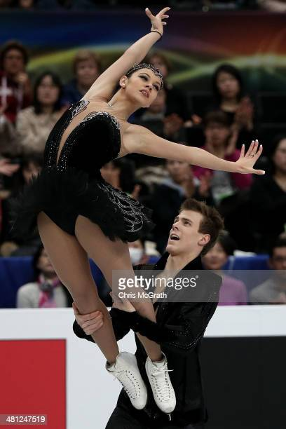 Elena Ilinykh and Nikita Katsalapov of Russia compete in the Ice Dance Free Dance during ISU World Figure Skating Championships at Saitama Super...