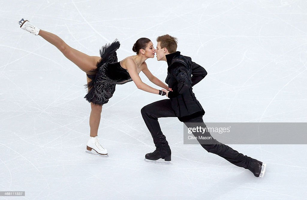 Elena Ilinykh and Nikita Katsalapov of Russia compete in the Team Ice Dance Free Dance during day two of the Sochi 2014 Winter Olympics at Iceberg Skating Palace onon February 9, 2014 in Sochi, Russia.