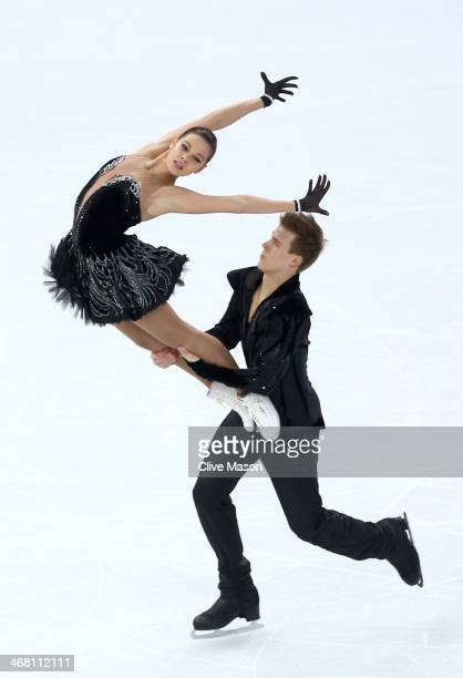 Elena Ilinykh and Nikita Katsalapov of Russia compete in the Team Ice Dance Free Dance during day two of the Sochi 2014 Winter Olympics at Iceberg...