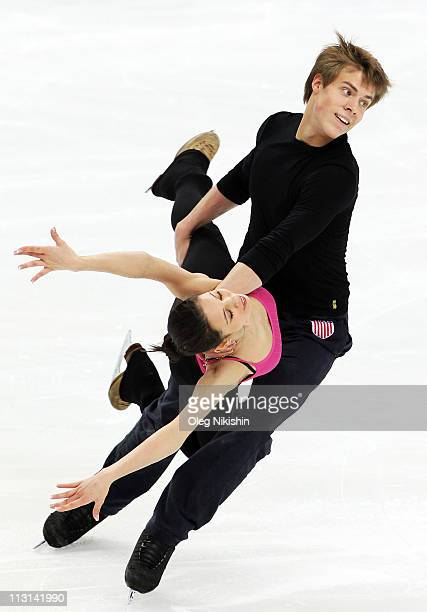 Elena Ilynikh and Nikita Katsalapov of Russia skate in the training during day one of the 2011 World Figure Skating Championships at Megasport Ice...