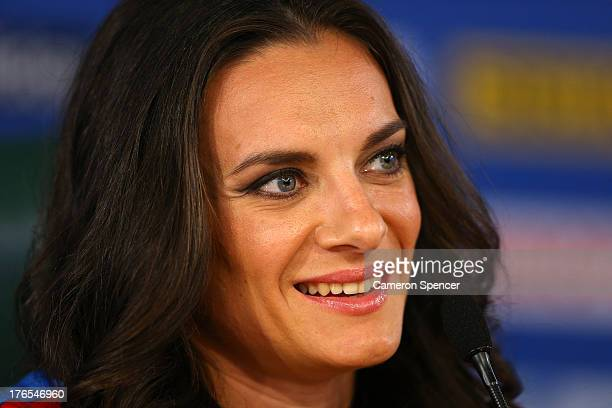 Elena Isinbaeva of Russia attends the IAAF Ambassador Programme Press Conference during Day Six of the 14th IAAF World Athletics Championships Moscow...