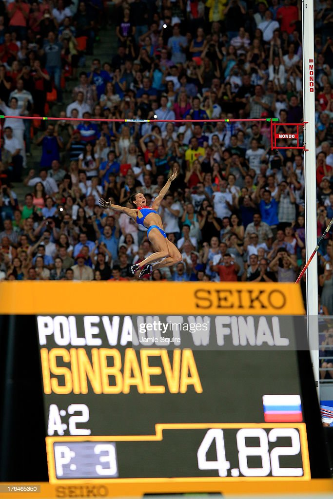 Elena Isinbaeva of Russia celebrates a jump in the Women's pole vault final during Day Four of the 14th IAAF World Athletics Championships Moscow 2013 at Luzhniki Stadium on August 13, 2013 in Moscow, Russia.