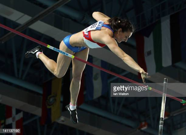 Elena Isinbaeva of Russia competes in the Women's Pole Vault Final during day three of the 14th IAAF World Indoor Championships at the Atakoy...